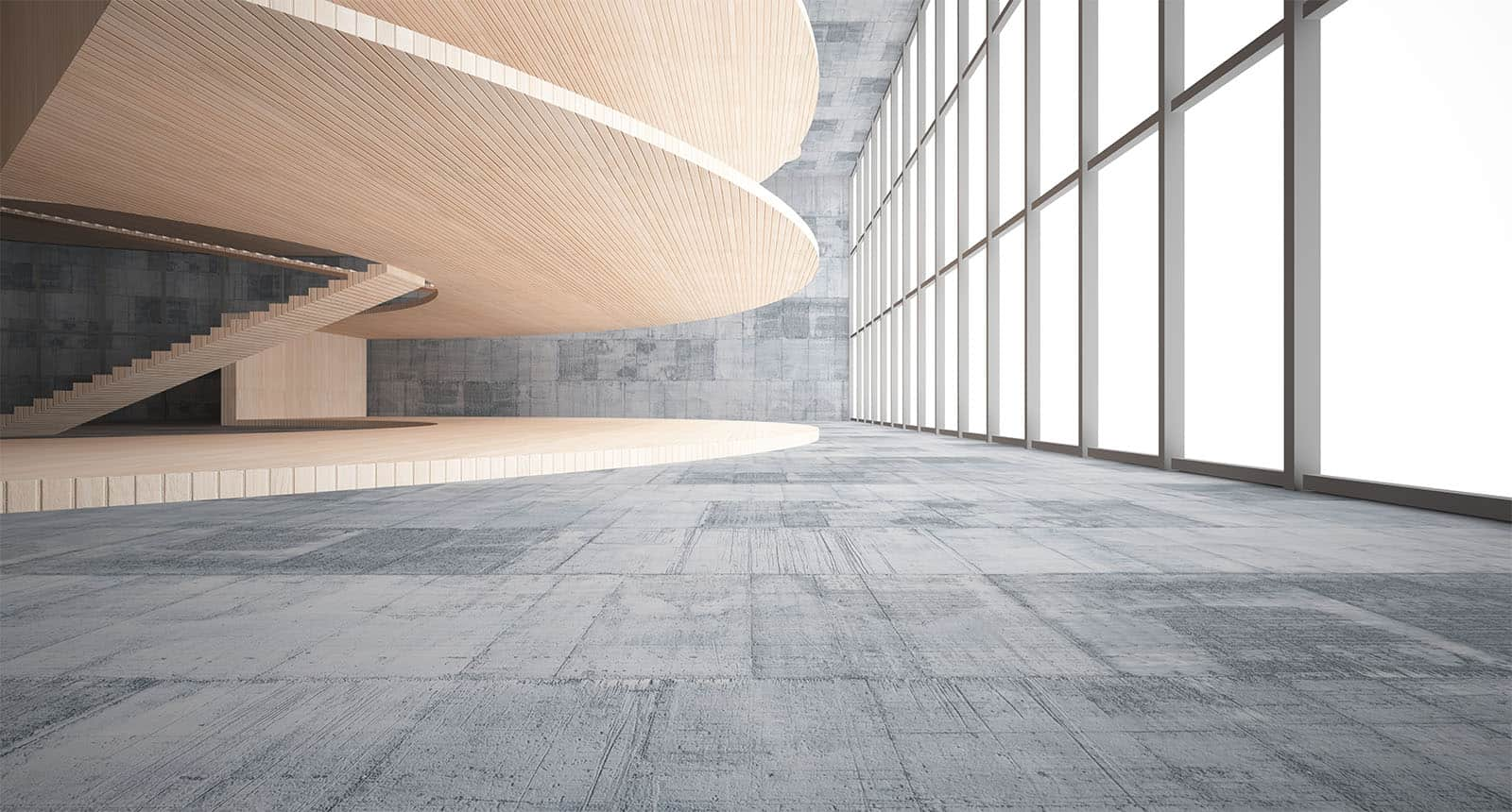 Abstract Concrete Wood Interior